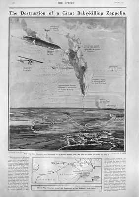 Destruction of a Giant Baby-Killing Zeppelin.  1915.