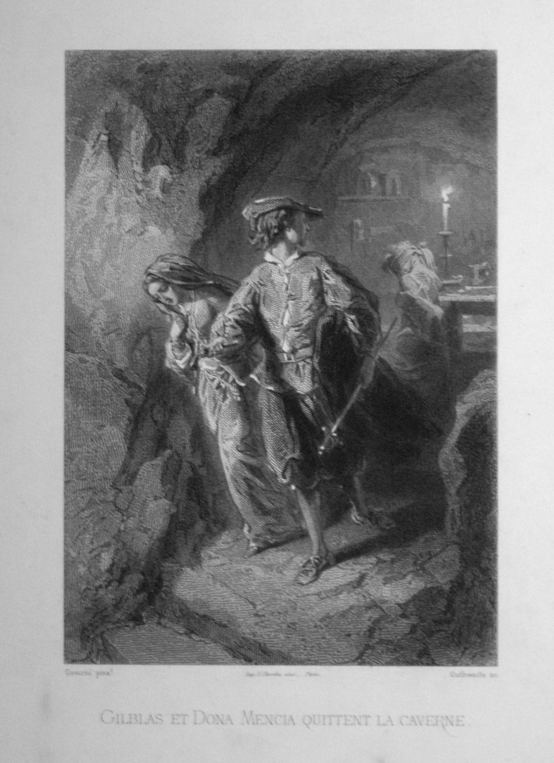 Gilblas et Dona Mencia quittent la caverne.