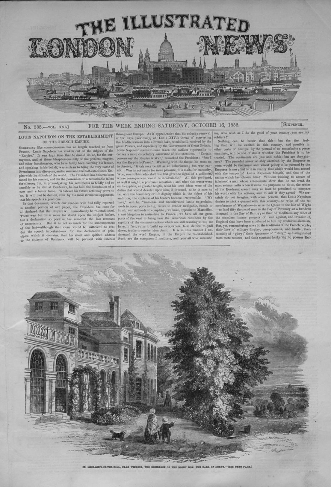 Illustrated London News October 16, 1852.