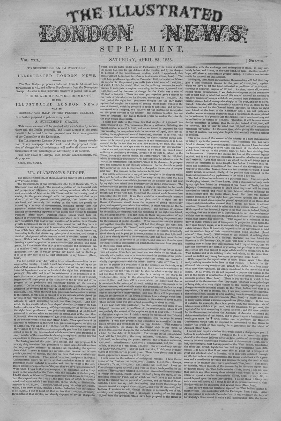 Illustrated London News Supplement For April 23rd, 1853.