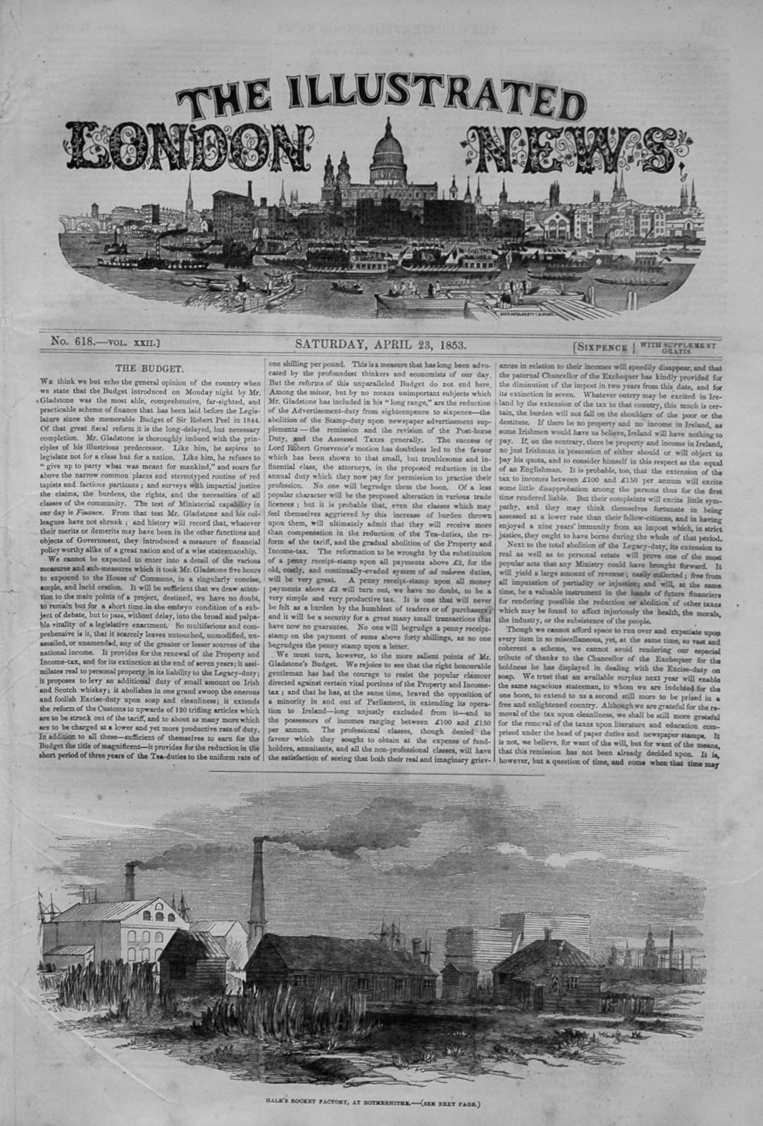 Illustrated London News  April 23rd, 1853.