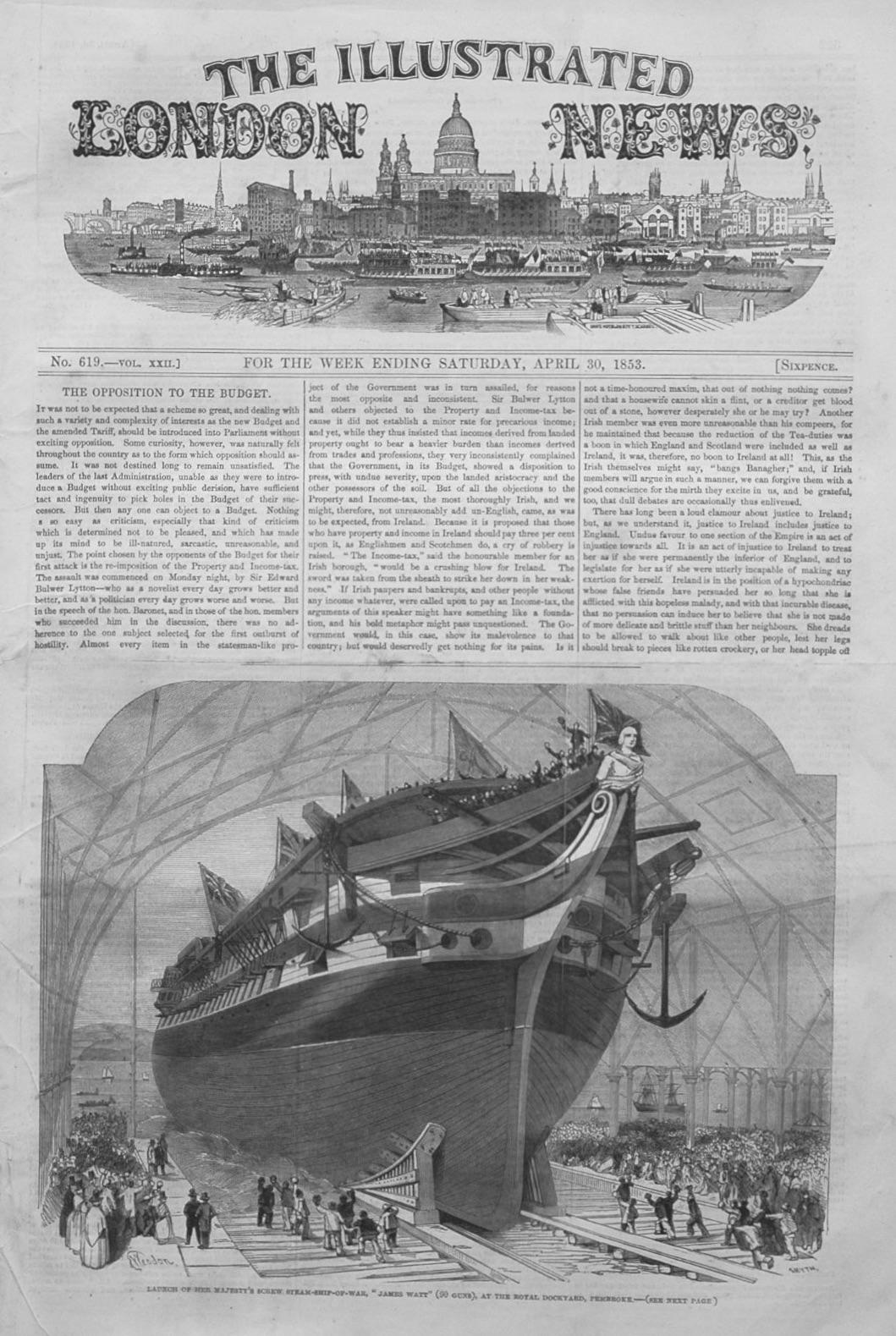 Illustrated London News April 30th, 1853.