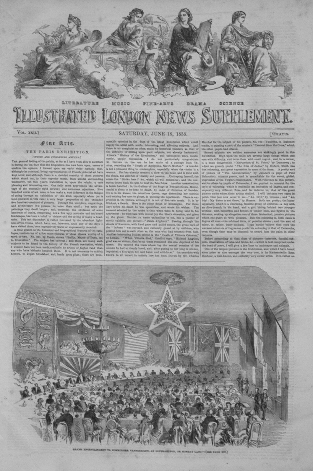 Illustrated London News (Supplement) For June 18th, 1853.