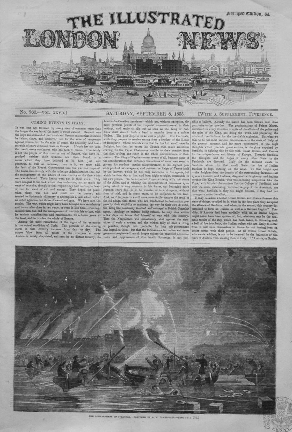 Illustrated London News September 8th. 1855.