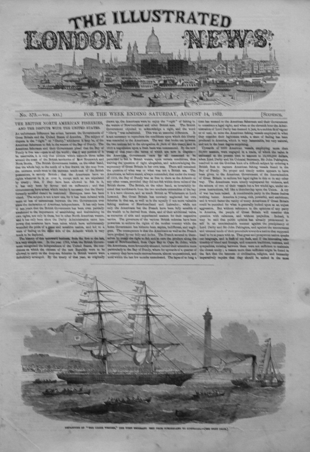 Illustrated London News August 14th 1852.