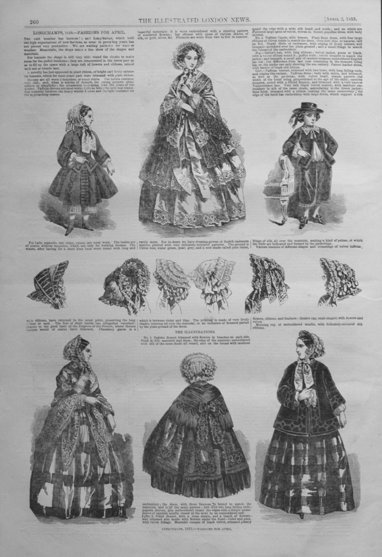 Longchamps, 1853. -Fashions For April.