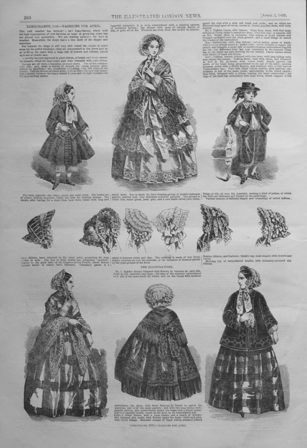 Longchamps, 1853. -Fashions For April.