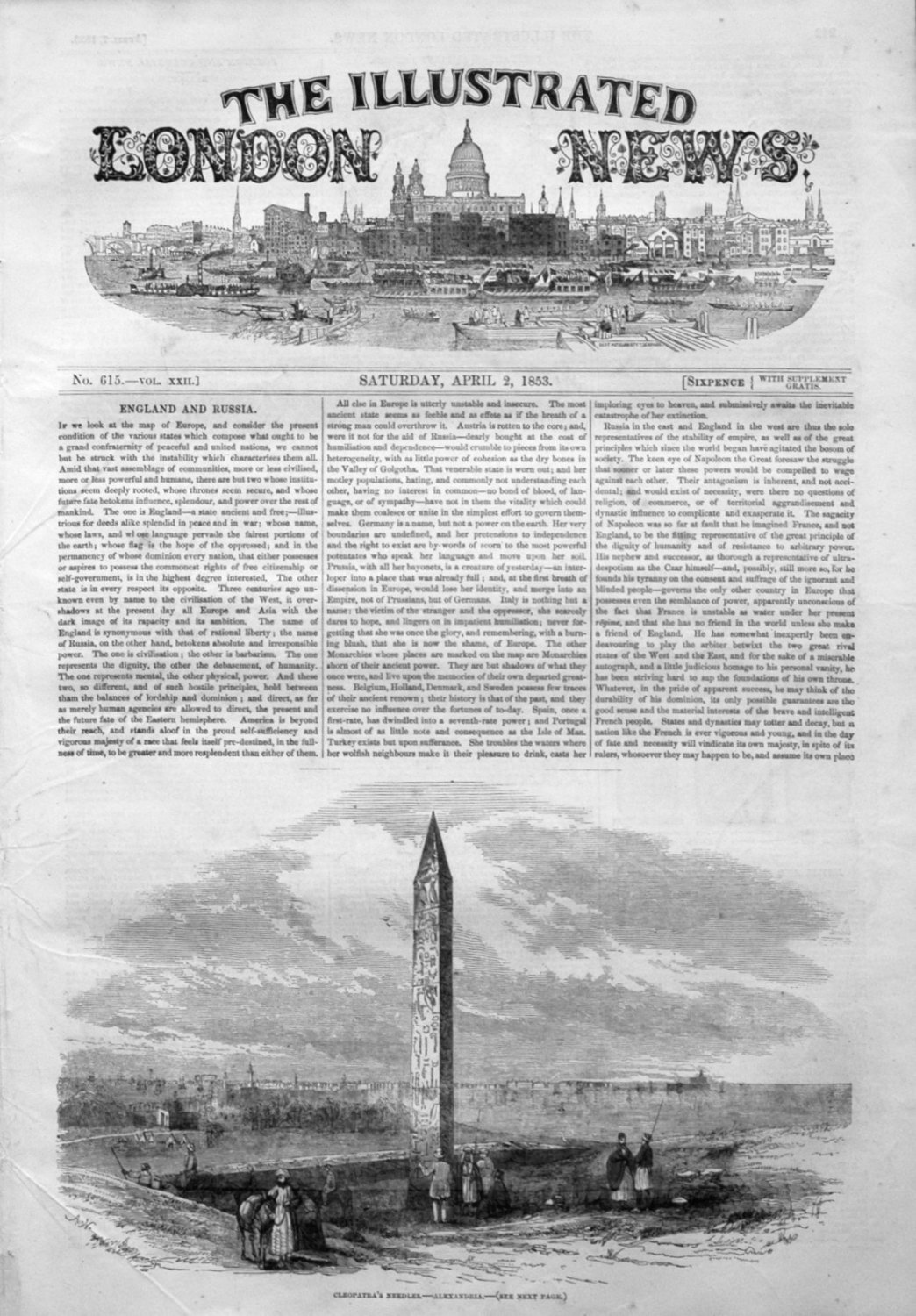 Illustrated London News April 2nd 1853.