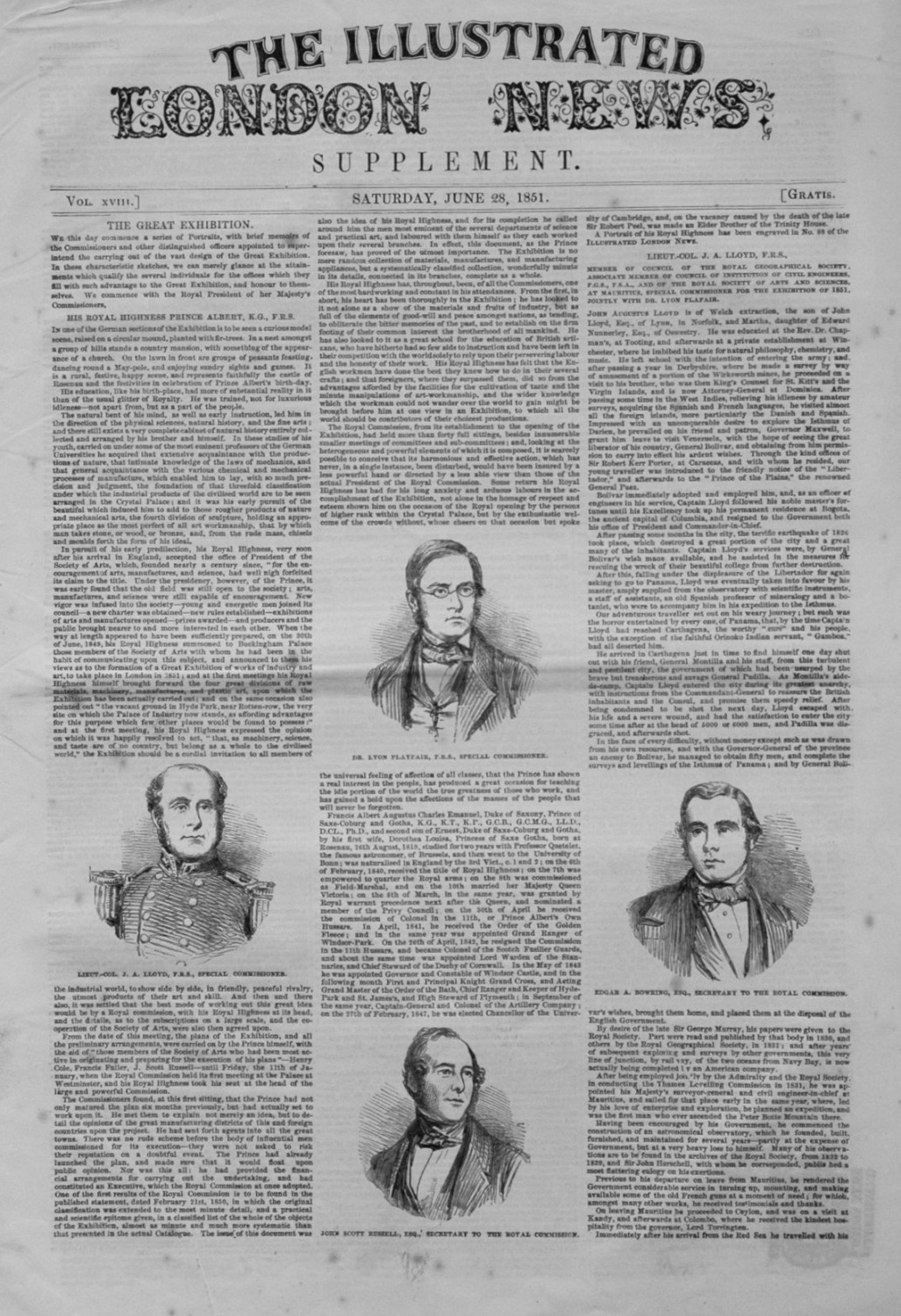Illustrated London News (Supplement) June 28th 1851.