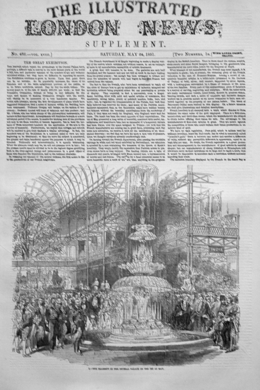 Illustrated London News Supplement for May 24th 1851.