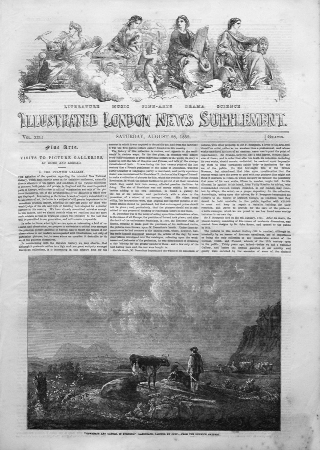 Illustrated London News (Supplement) for August 28th 1852.