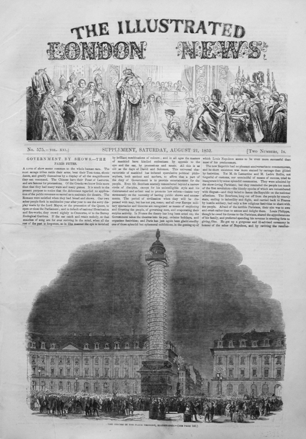 Illustrated London News (Supplement) for August 21st 1852.