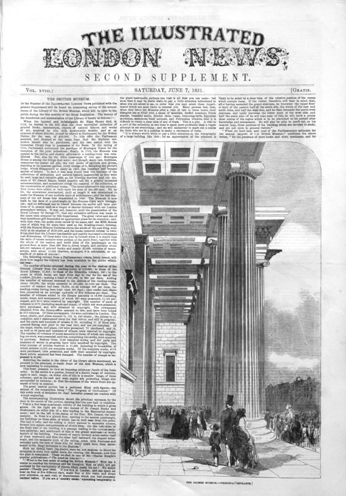 Illustrated London News Supplement For June 7th 1851.