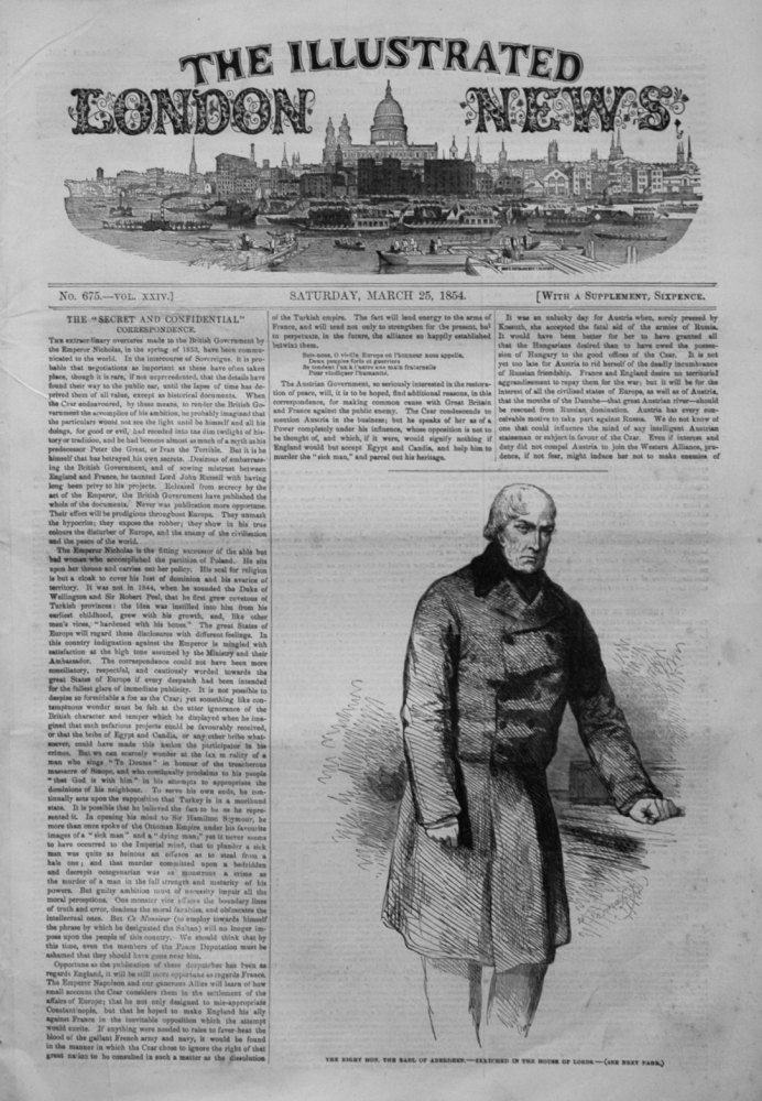 Illustrated London News March 25th 1854.