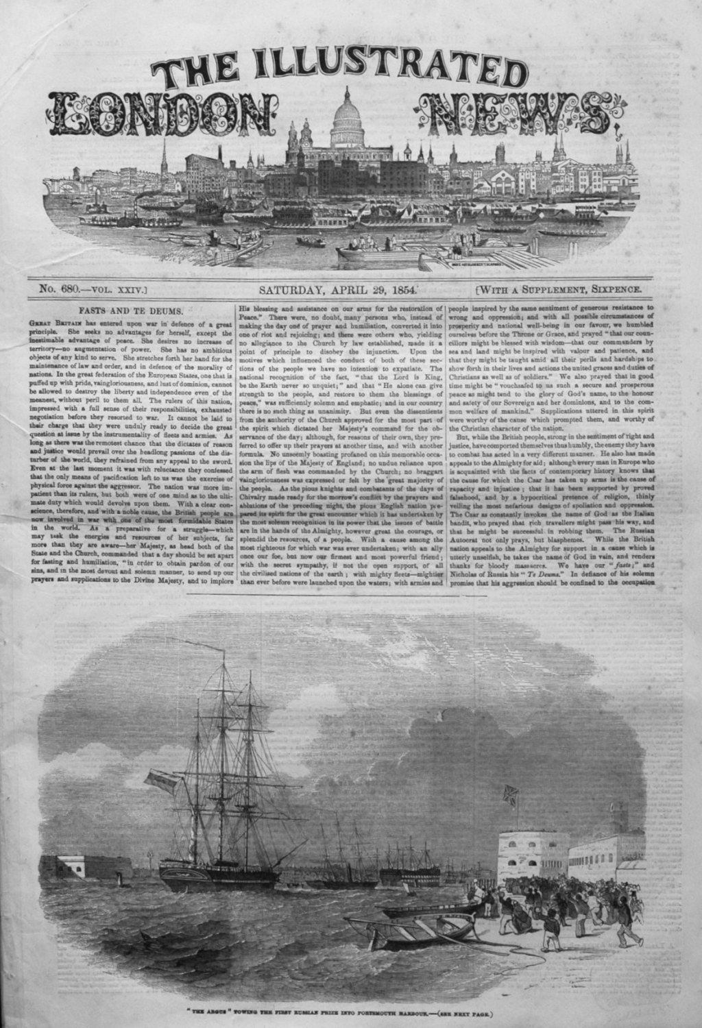 Illustrated London News April 29th 1854.