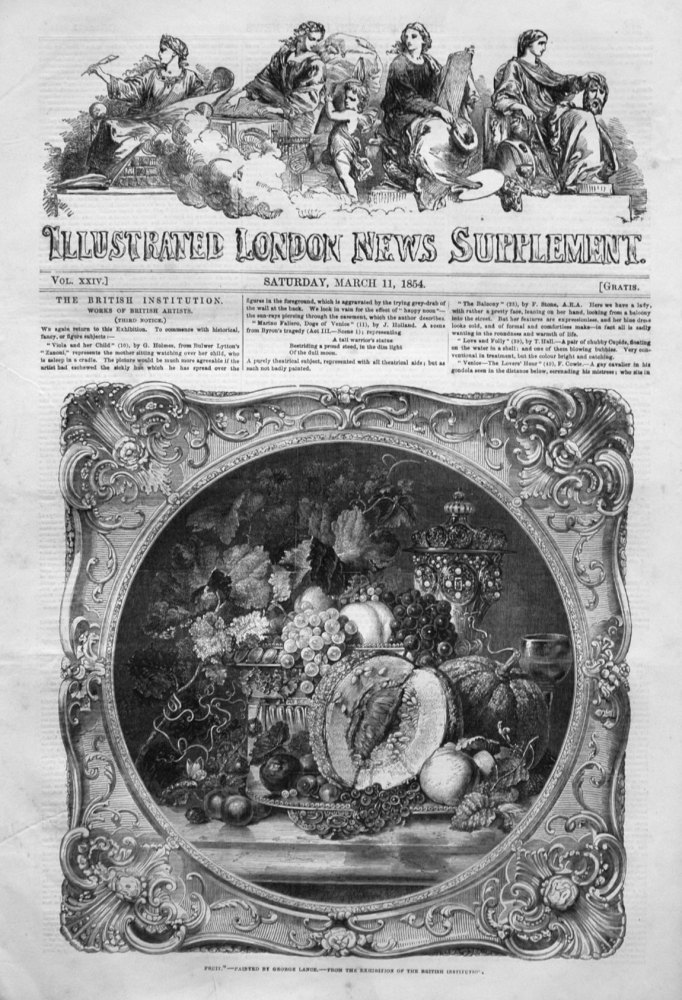 Illustrated London News (Supplement) for March 11th, 1854.