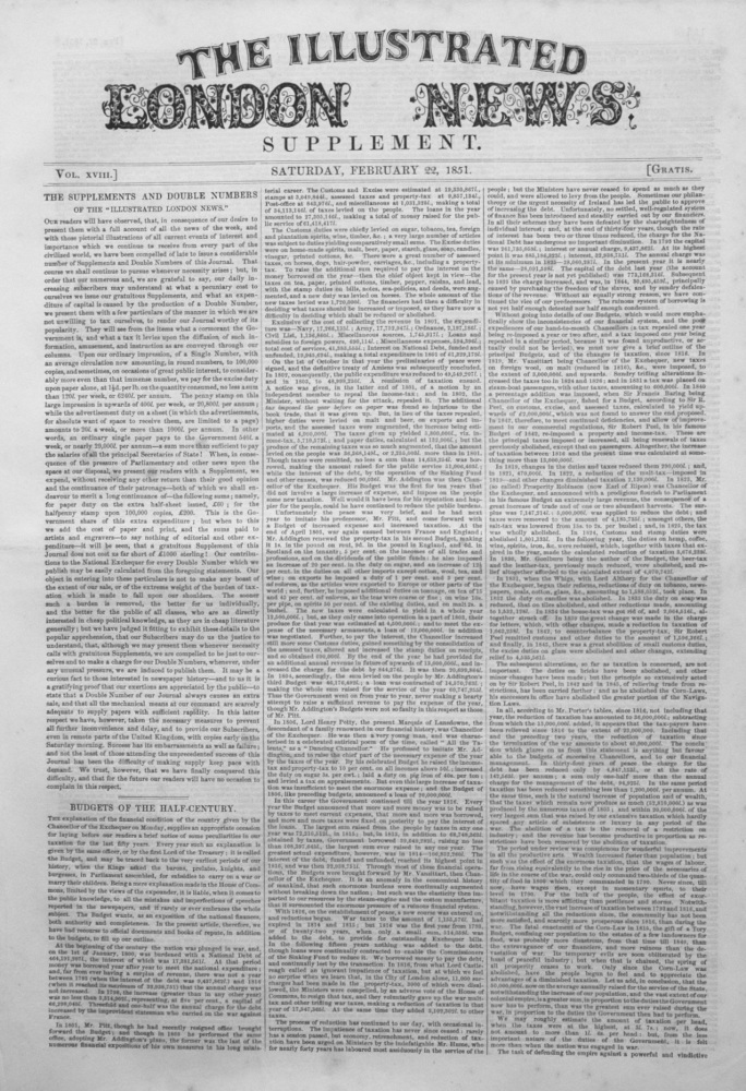 Illustrated London News (Supplement) for February 22nd, 1851.