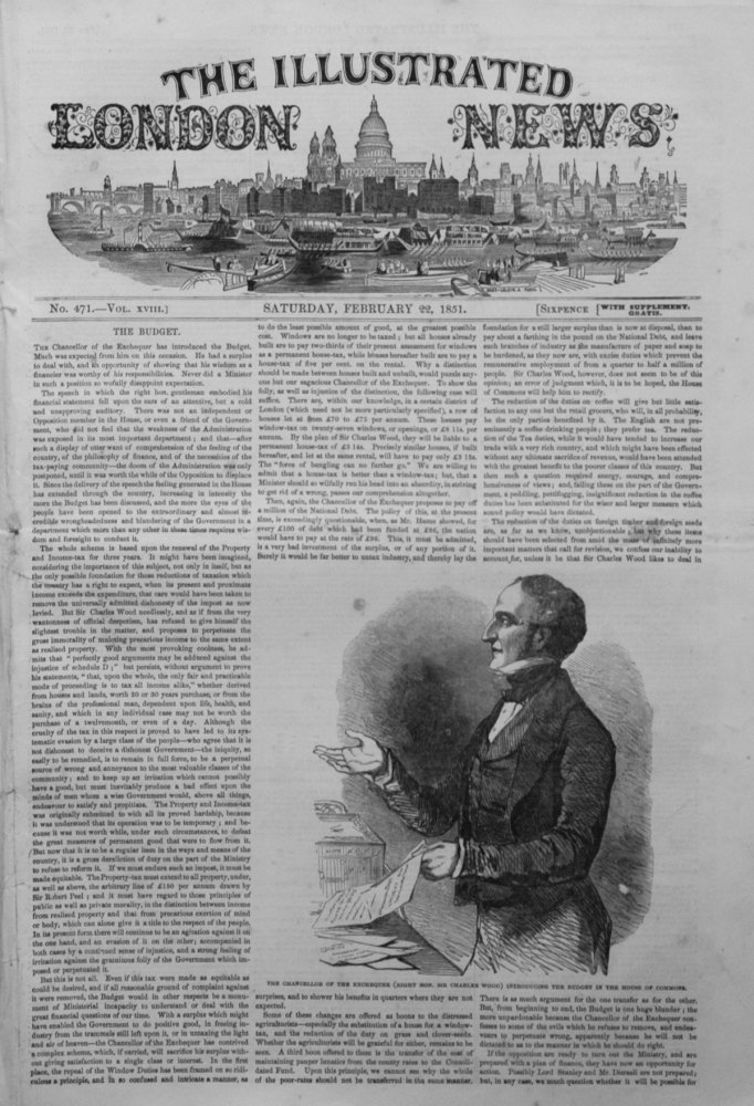 Illustrated London News February 22nd 1851.