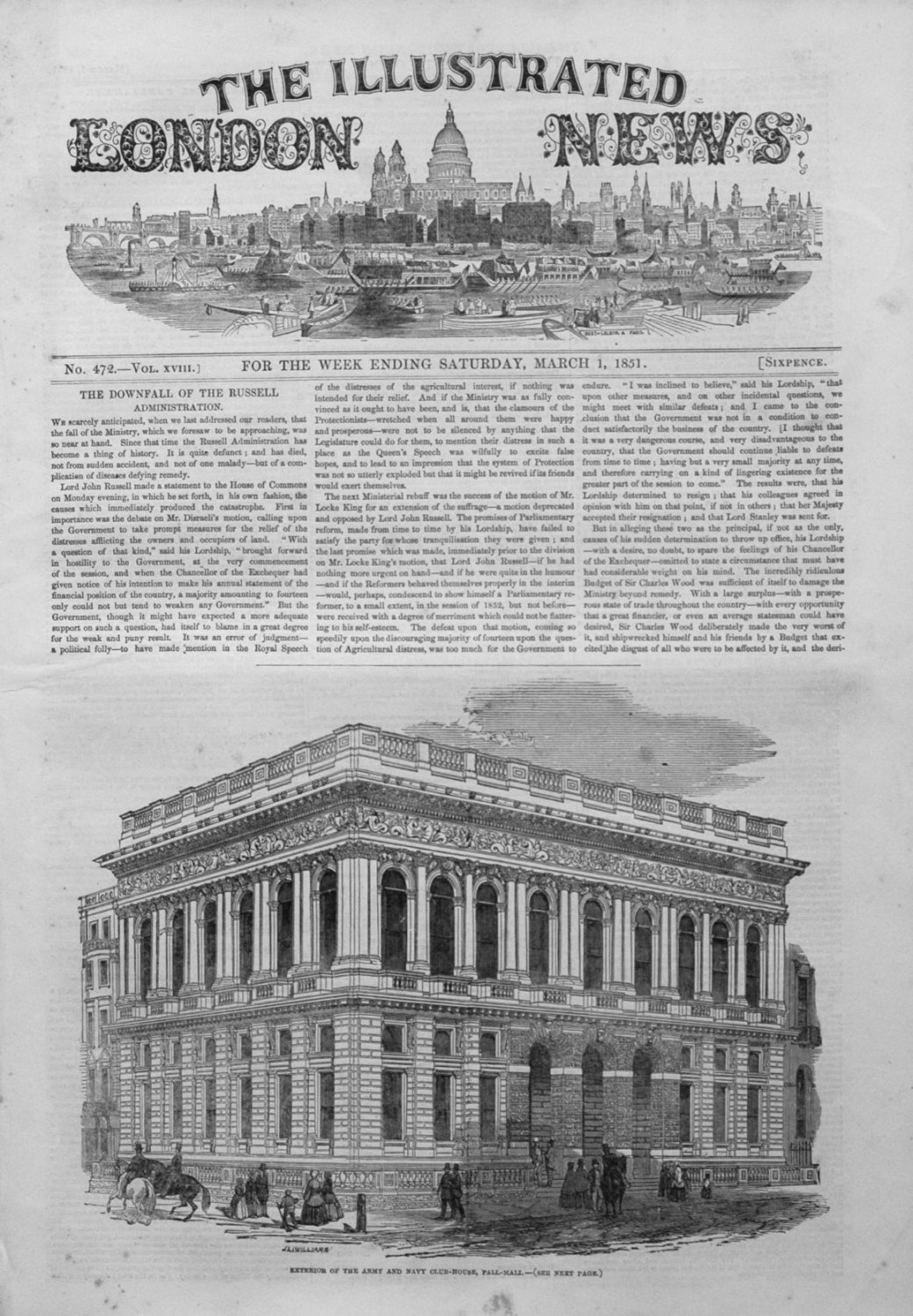 Illustrated london News March 1st 1851.