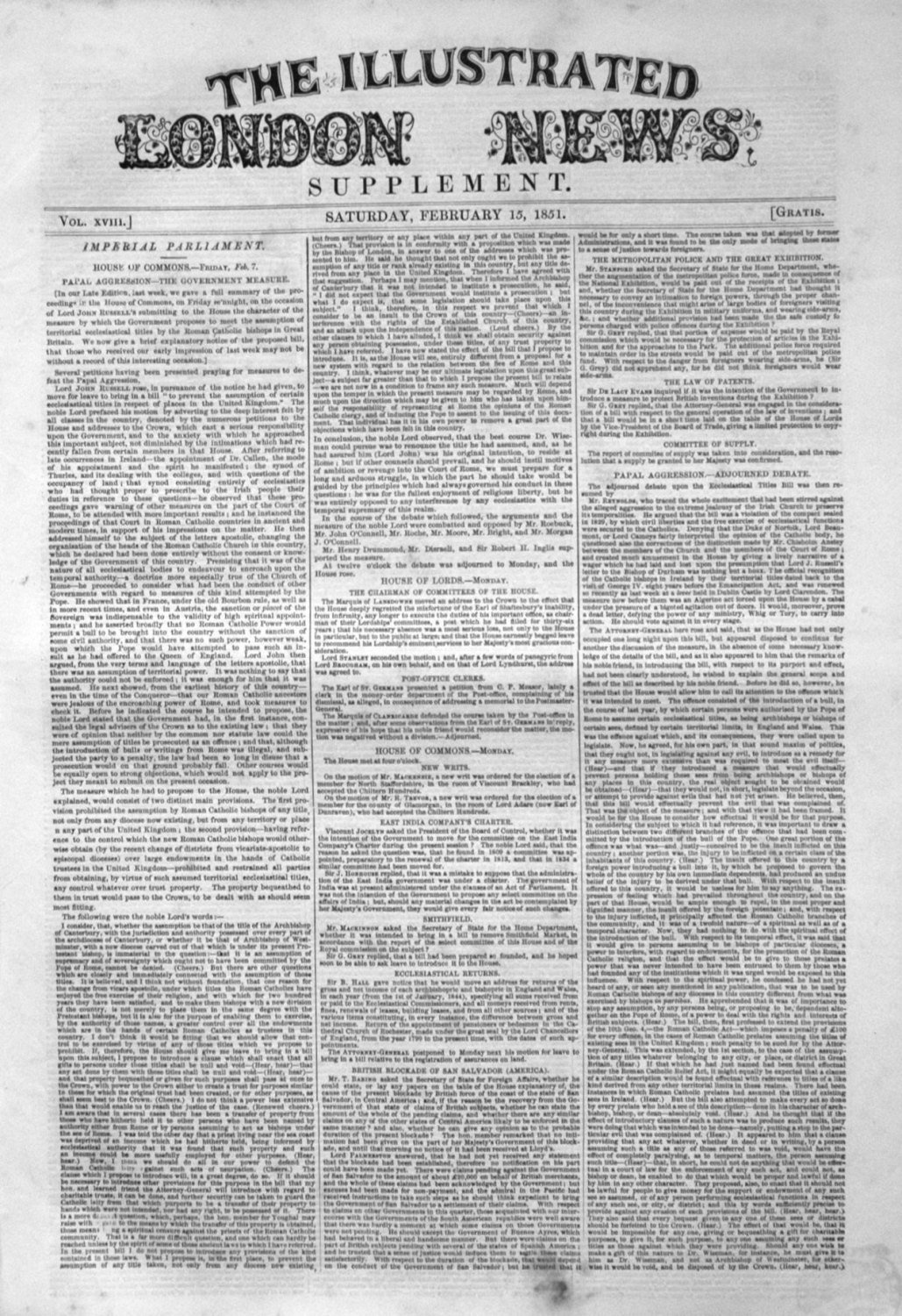 Illustrated London News (Supplement) for February 15th, 1851.