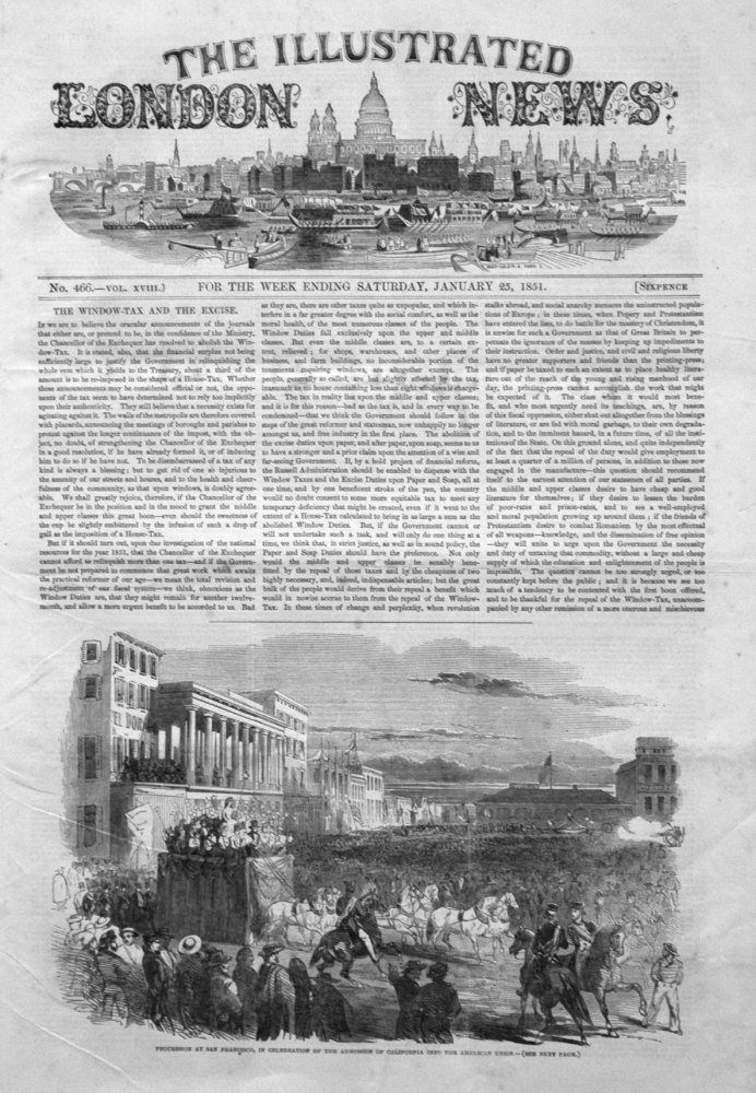 Illustrated London News January 25th 1851.