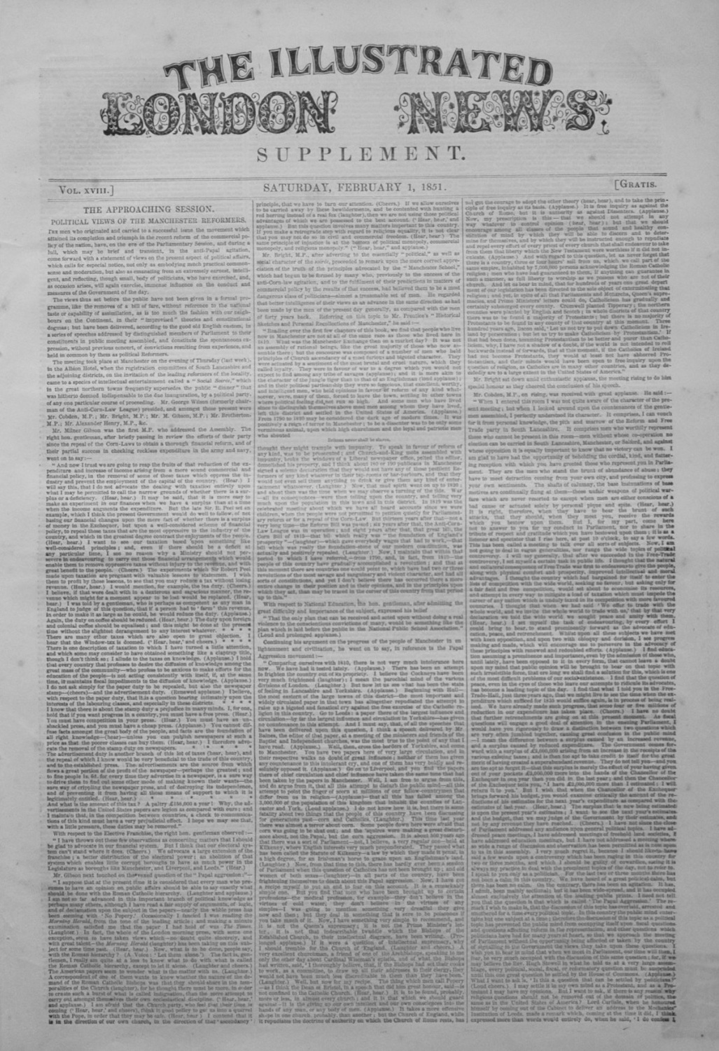 Illustrated London News Supplement For February 1st 1851.