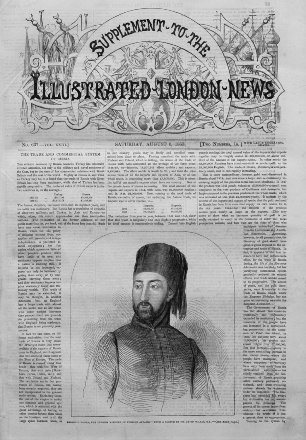 Illustrated London News, Supplement August 6th 1853.