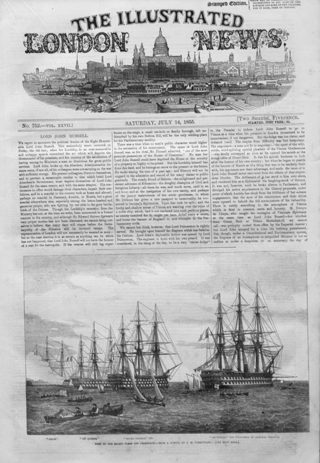 Illustrated London News & Supplement for July 14th 1855.