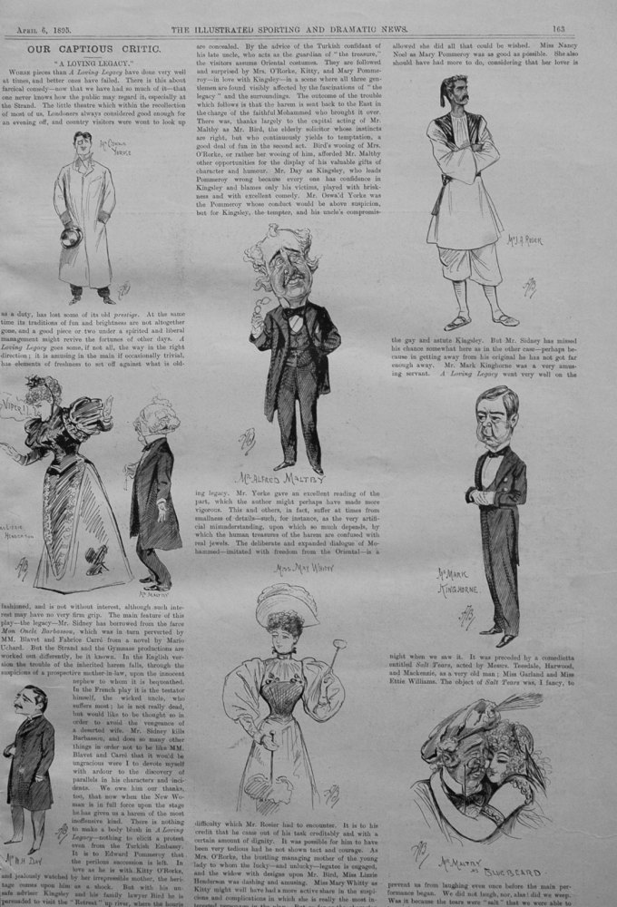 Our Captious Critic, April 6th 1895.