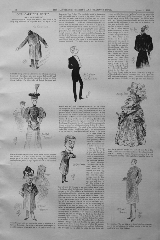 Our Captious Critic, March 21st 1896.