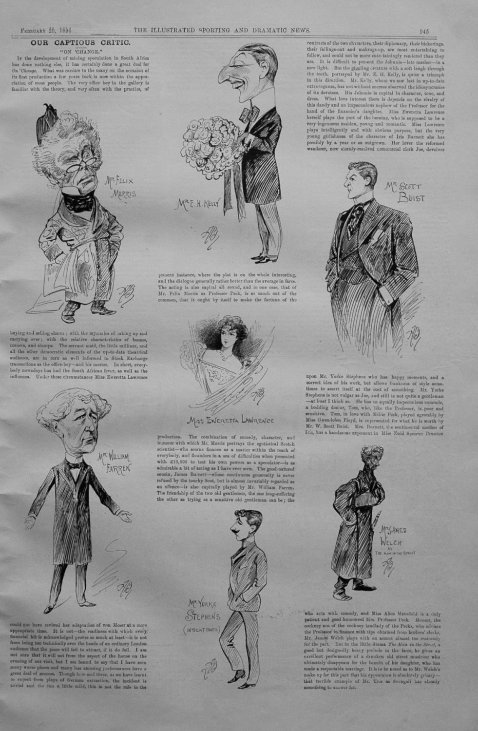 Our Captious Critic, February 29th 1896.