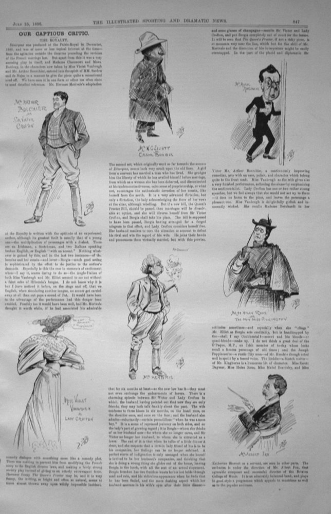 Our Captious Critic, July 25th 1896.