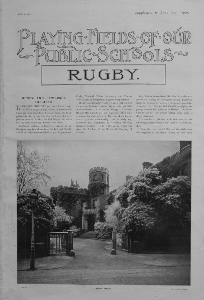 Playing Fields of our Public Schools. June 23rd 1900.