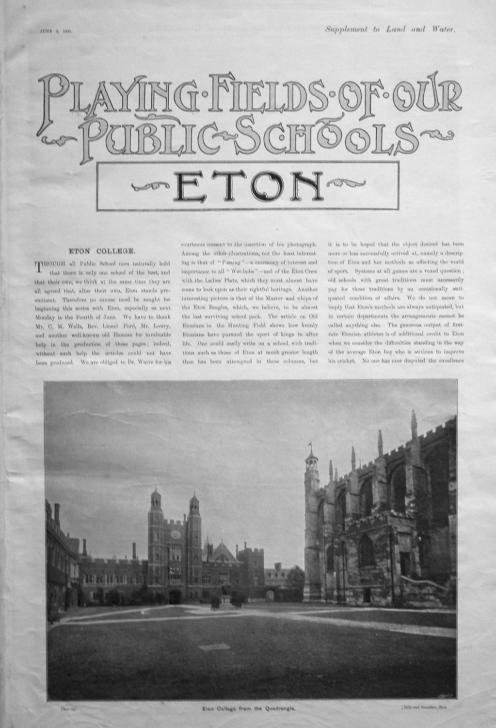 Playing Fields of our Public Schools. June 2nd 1900.