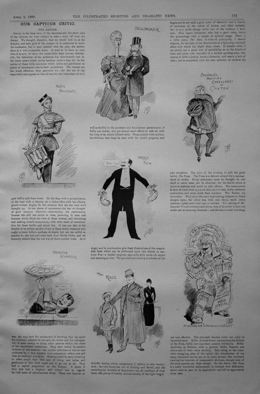 Our Captious Critic, April 2nd 1898.