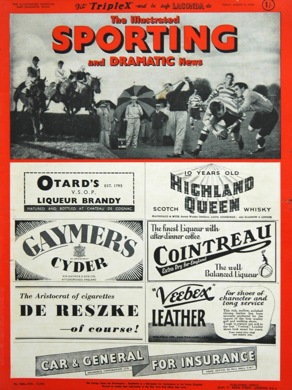 Illustrated Sporting and Dramatic News March 11th 1938.