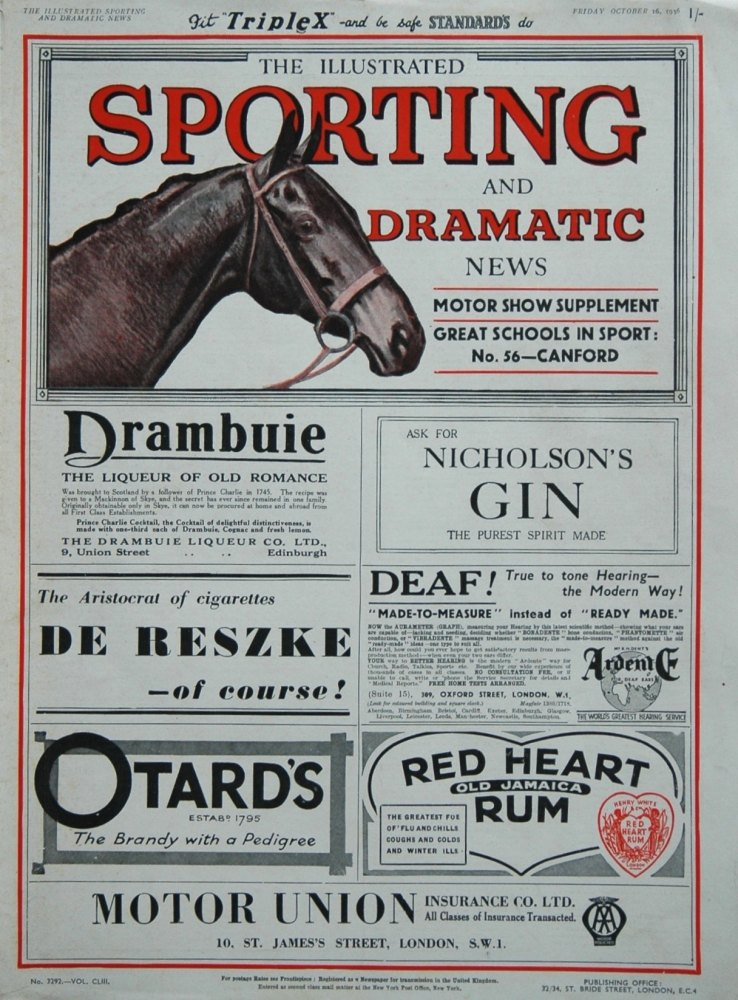 Illustrated Sporting and Dramatic News October 16th 1936.