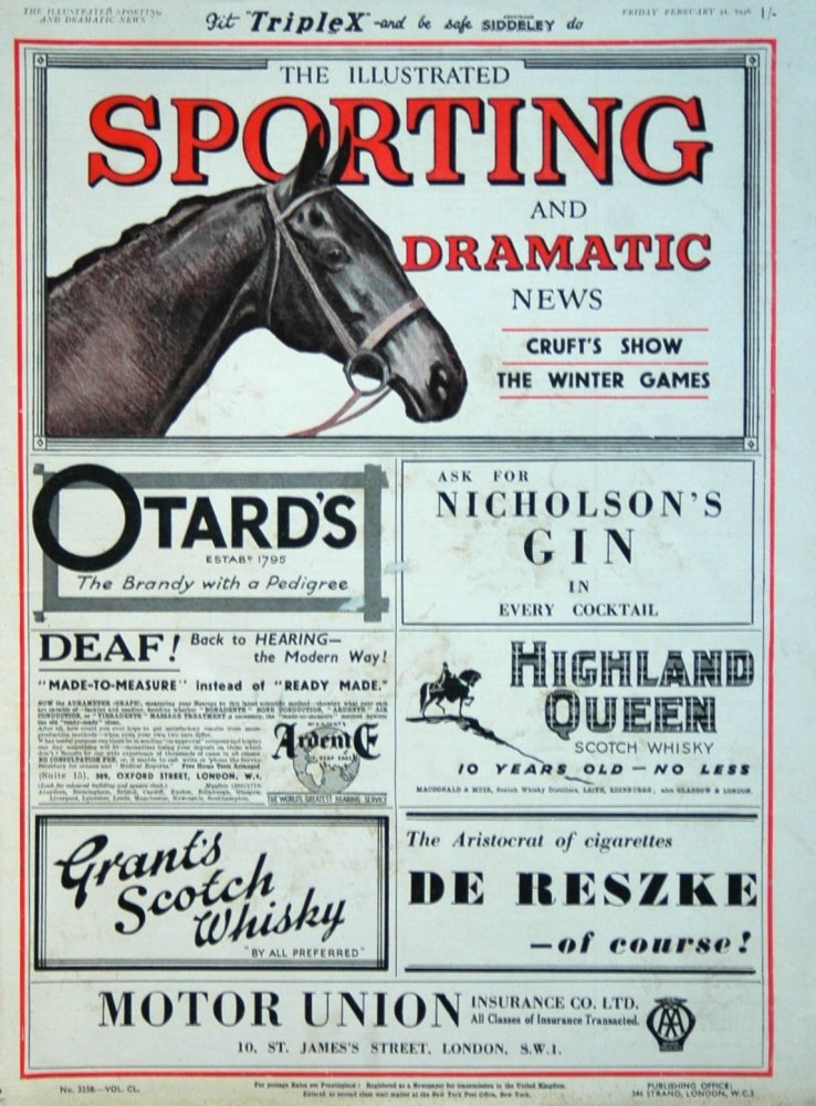 Illustrated Sporting and Dramatic News February 21st 1936.