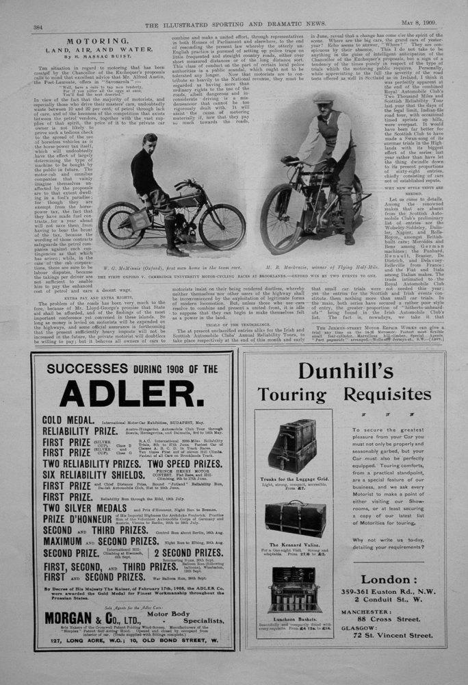 Motoring. Land, Air and Water. May 8th 1909
