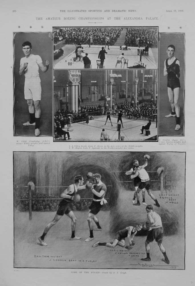 The Amateur Boxing Championships at the Alexandra Palace. April 1909.