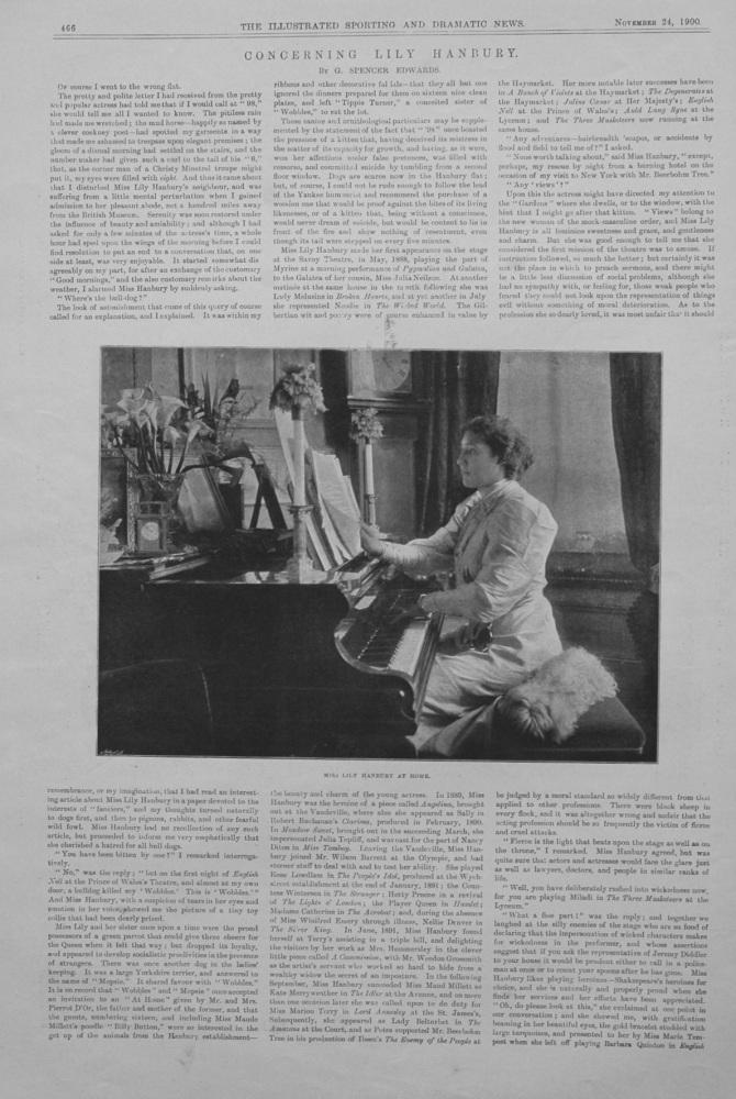 """Concerning Lily Hanbury."" November 24th 1900."