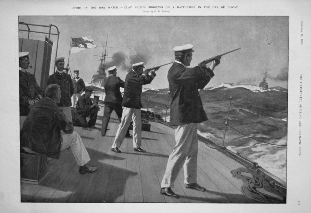 Sport in the Dog Watch. - Clay Pigeon Shooting on a Battleship in the Bay o