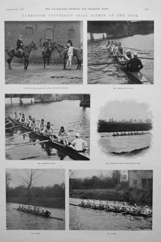 Cambridge University Trial Eights on the Ouse. 1900