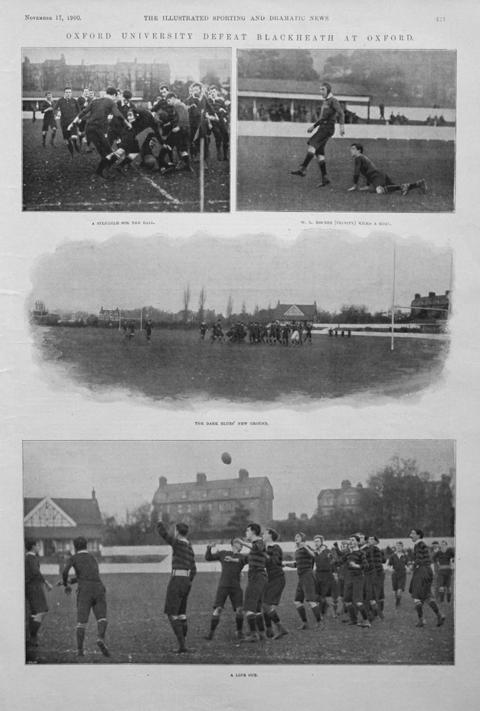 Oxford University Defeat Blackheath at Oxford. 1900.  (Rugby).