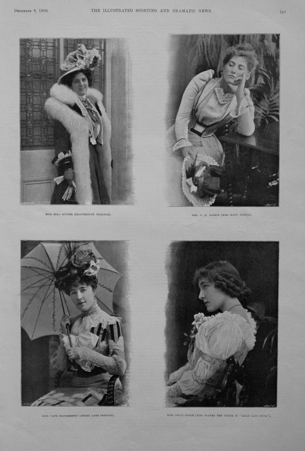 Actresses from the Stage, December 1900.