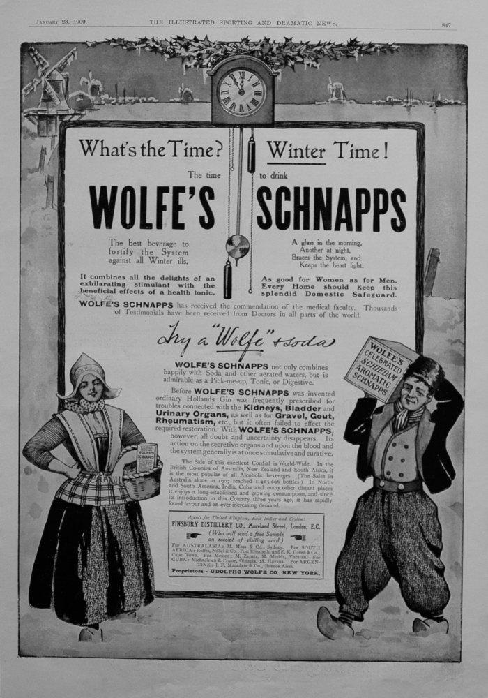 Wolfe's Schnapps. 1909.
