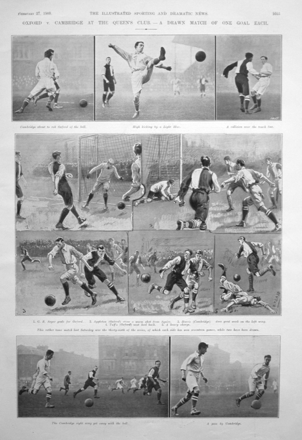 Oxford v. Cambridge at the Queen's Club. (Football). 1909