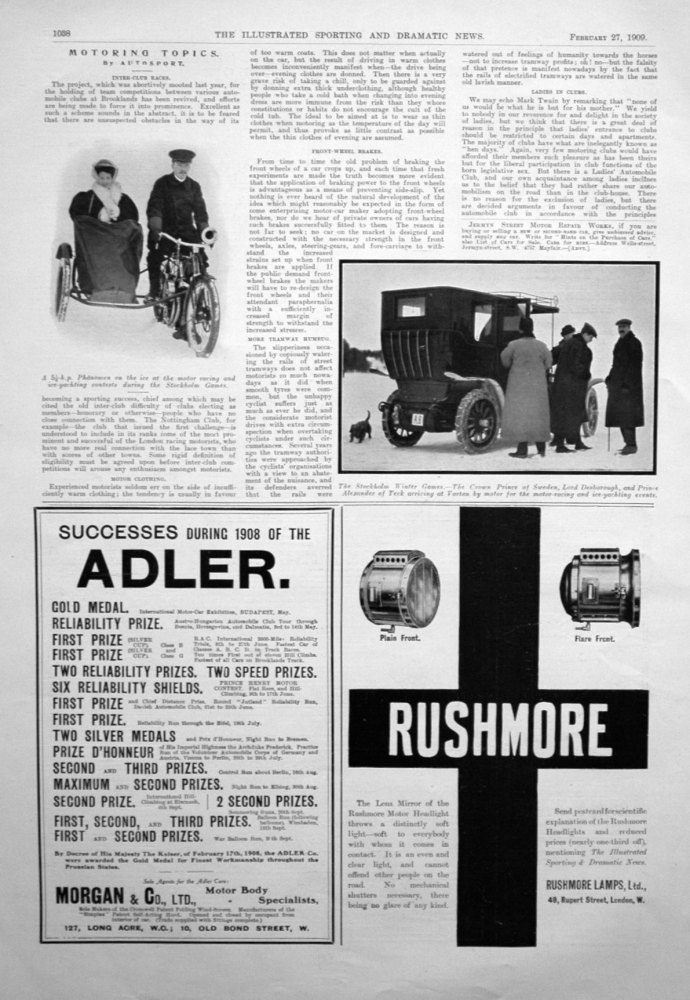 Motoring Topics, by Autosport. February 27th 1909.