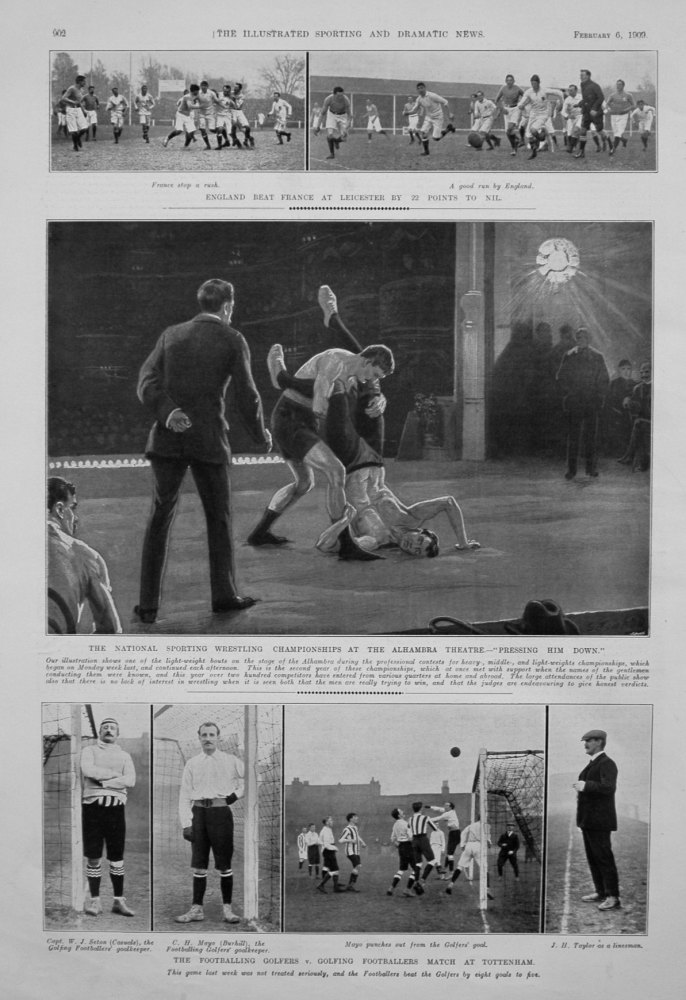 """The National Sporting Wrestling Championships at the Alhambra Theatre.-""""Pressing Him Down."""" 1909"""