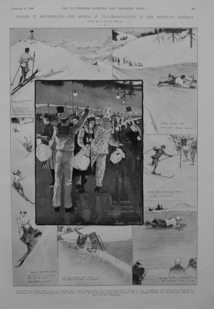 Winter in Switzerland.- The Sports at Villars-Sur-Ollon, in the Martigny District. 1909